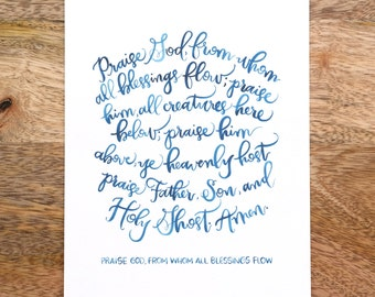 Praise God From Whom All Blessings Flow hymn / Doxology print
