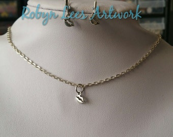 Tiny Silver Lips Kiss Necklace and/or Earrings Set on Silver Crossed Chain, Earring Hooks or Leverbacks. Cute, Dainty, Bridal