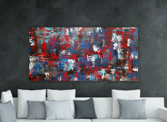 """24"""" x 48"""" """"Red Roses"""" Large navy blue white light blue red black original abstract modern painting  gallery wrapped large abstract painting"""