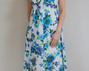 Vintage maxi dress 70s maxi dress 1970s maxi dress floral maxi dress ruffled dress floral 70s maxi dress size 14 blue floral summer dress