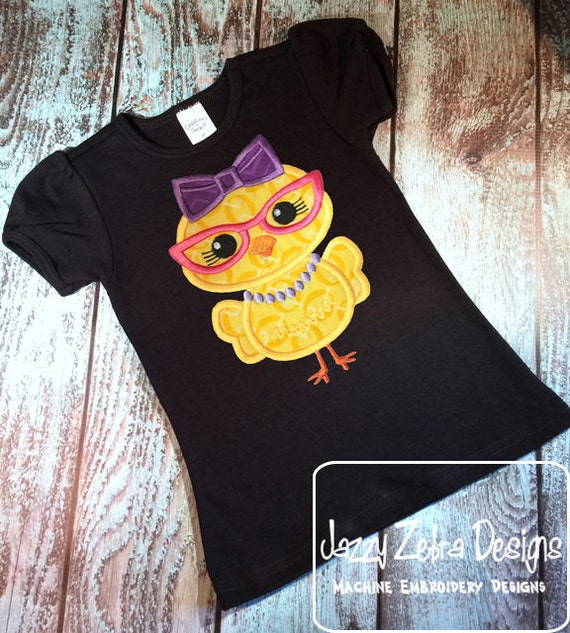 Chick Girl with glasses applique embroidery Design - Easter appliqué design - chick appliqué design - farm appliqué design - girl appliqué