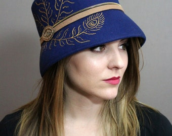 Navy Blue Wool Felt Cloche with Hand Painted Peacock Feather Design, Zipper Band, and Vintage Brooch