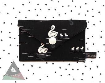 Business Cards Case / Credit Cards Holder : Swans Black & Light Beige