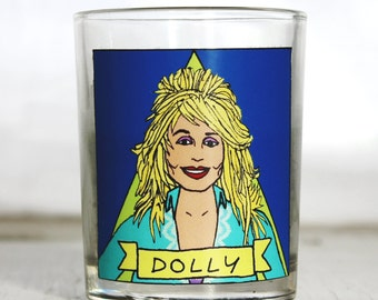Dolly Parton Glass Votive Candle //  LGBTQ Altar Candle