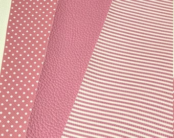3 Pack Mix Pink Leatherette Candy Pink Pink and White Dots and Stripe