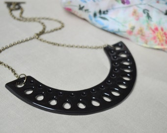 Black statement necklace, ceramic jewellery, unique contemporary jewelry for women, gift for best friend