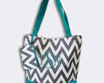 Grey and Aqua Chevron Canvas Tote Bag with Embroidery Personalization