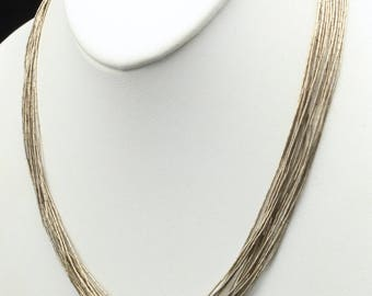 Sterling Silver 15 Strand Liquid Silver Fine Bead Necklace By Running Bear
