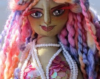 River mermaid, OOAK fantasy figure art doll