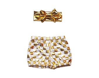 Metallic Gold Checkered Shorts - Bloomers - Diaper Cover - ONLY Shorts