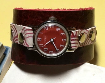 Vintage Timex watch face with handmade printed leather wrist cuff style band