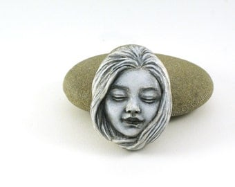 Original sculpture on stone! Girl face clay sculpture hand sculpted on stone, unique home decor and paperweight for art lovers!