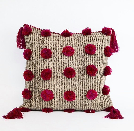 Handmade Natural Wool Pom Pom And Tassel Pillow 20x20