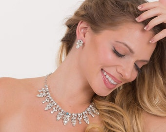 Crystal rhinestone necklace and earring set.