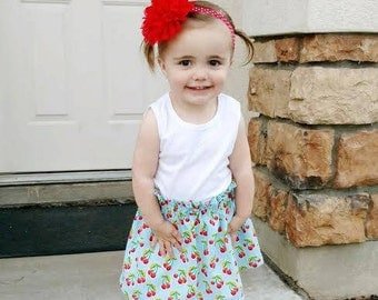 Girl's Cherry Skirt, Ruffle Top Skirt, Girl's Modest Skirt, Light Blue Polka Dot Skirt, Red Cherry Skirt, Baby Skirt, Girl's Skirt, Cherries