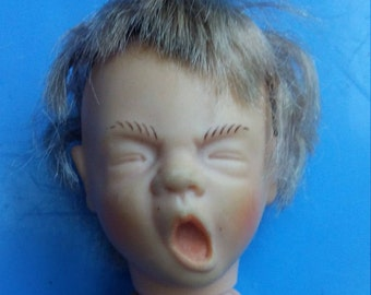 Vinyl Realistic Doll Head and Limbs Yawning Boy Doll Parts Dollcrafting Supply