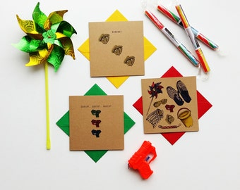 Pack of three fun seaside themed cards