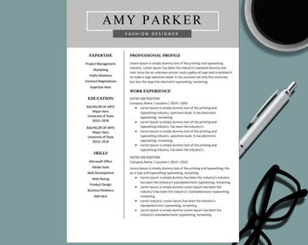 creative professional resume template for ms word modern resume design cv template design - Fashion Design Resume Template