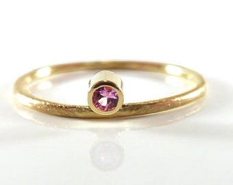 Fine gold ring 14k with pink sapphire - Stacking ring, stack ring, engagement ring, yellow gold - handmade by SILVER LOUNGE