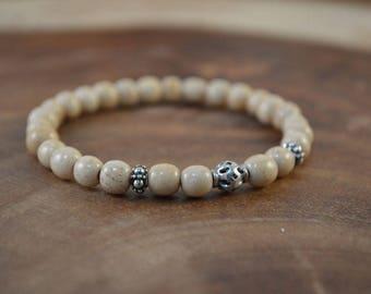 Bohemian Bracelet, Petite Bracelet, Bone Bracelet, Sterling Silver, Stretch Bracelet, Stacking Bracelet, Boho Jewelry, Stacking Bracelet