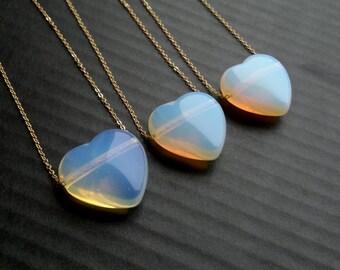 Opalite Necklace Opalite Heart Pendant Opalite Heart Necklace Opalite Jewelry Gold Opalite Heart Jewelry Valentine's Gift