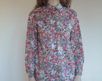 80's Cacharel Liberty la Chemiserie fine cotton blouse/ French Boho