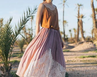 L'amant Collection purple/white side lace layered skirt