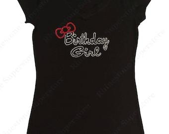"Women's Rhinestone T-Shirt "" Birthday Girl with Red Bow "" in S, M, L, 1x, 2x, 3x"