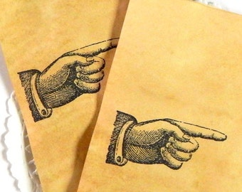Vintage Pointing Finger Coffee Stained Tags. Vintage Tags. Junk Journal Supply. Scrapbook Ephemera. Stationery Note Card. Journal Paper.
