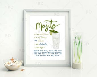 Mojito Cocktail with Recipe - PRINTABLE Wall Art / Cocktails Mixed Drinks Wall Art / Hand Drawn Cocktails / Cocktails Print / 2 for 1 Print!