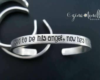I Used to Be His Angel Now Hes Mine, Grieving, Loss of Father, Memorial Jewelry, Daddys Girl, Angel Bracelet, Father Daughter