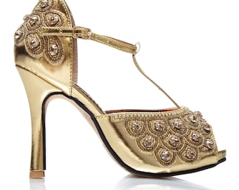 Canada Duty Free Shipping Size US7 Gold Hand Embellished Donna Sandals Pumps T Strap Mary Jane Vintage inspired 20s Charleston Art Deco