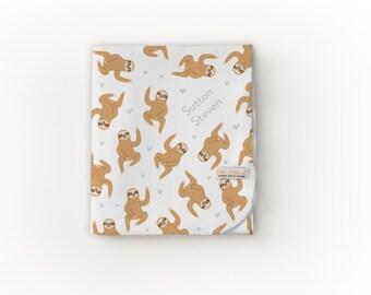 Sloth Blanket / Sloth - Name Blanket / Swaddle Blanket / Organic Baby Blanket / Organic Swaddle / Modern Baby Blanket
