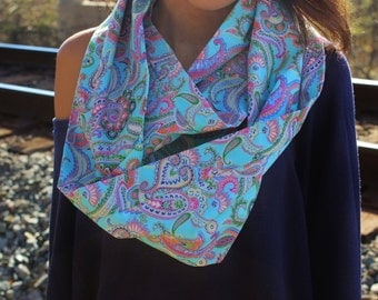 Electric Light Blue and Periwinkle Purple Paisley Infinity Scarf-Pastel Neck Warmer, Boho Women's Loop Scarf