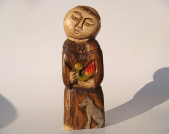 St.FRANCIS with wolf and bird handcrafted wooden sculpture