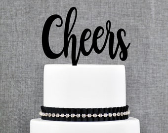 Cheers Cake Topper, Modern Fun Cake Topper, Cheers Wedding Topper - (T313)