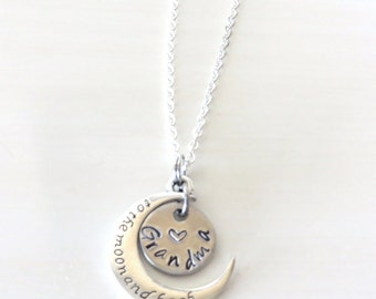 Love You to the Moon and Back Grandma Nana Granny Grammy Hand Stamped Necklace YOU Select Chain Material and Chain Length