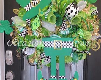 St. Patricks Wreath, Green Wreath, Saint Patricks Day, St. Patrick's Decoration, Leprechaun Wreath, Door Hanger, Front door wreath