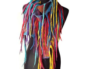 Felted Scarf Felt Collar Felted Necklace Multicolor Felt Summer Wearable Art Rainbow Fun necklace Colorful art to wear Boho Gift OOAK