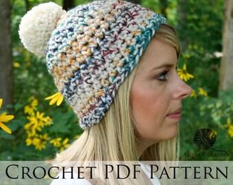 Trenta Pom Beanie // Crochet PDF Pattern Extra Bulky Crochet Hat Pattern Chunky Knit Cap Multicolor Hat Pom Pom Beanie Crochet Tutorial
