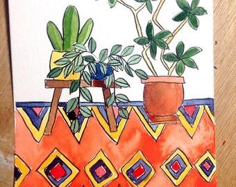 Cactus schilderij etsy - Decoratie interieur trap schilderij ...