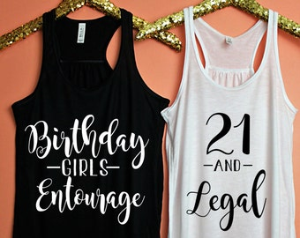21 and Legal, Birthday Girls Entourage, Finally 21, Birthday Tank, 21st Birthday, Birthday Gift, Birthday Shirt, Birthday Girls Entourage