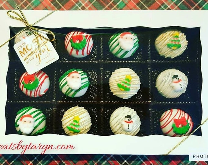Featured listing image: Christmas cake ball gift set. Stocking treats. Christmas treats. Christmas cake. Christmas party decor. Tree pop. Snow globe. Gingerbread