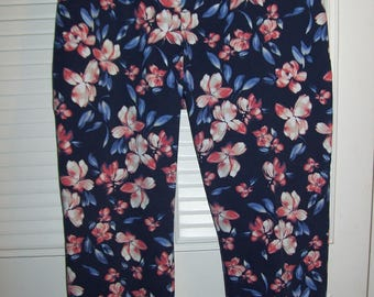 Pants 18 , Spring Floral Cotton Pants, Size 18, Long Pants, PERFECT Vintage Find.  see details