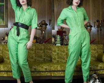 50s Jumpsuit | 1950s Jumpsuit | 60s Jumpsuit | 1960s Jumpsuit | Silk Jumpsuit | Green Jumpsuit | 50s Green Jumpsuit | 60s Green Jumpsuit 29""