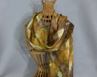 """Silk Scarf """"Khaki and Gold"""", Hand Painted Silk Jacquard Scarf, Gold Scarf"""