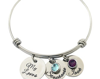 Personalized Bracelet - My Loves - Mother's Necklace - All Stainless Steel Custom Name And Birthstone Crystals