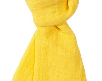 Yellow 100% linen scarf, yellow linen scarf, flax scarf, spring scarf, linen shawl, yellow shawl, linen wrap, yellow scarf, unisex scarf