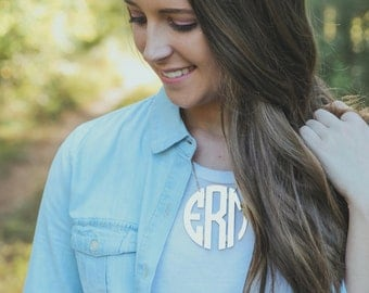 Monogrammed XL Circle Acrylic Necklace