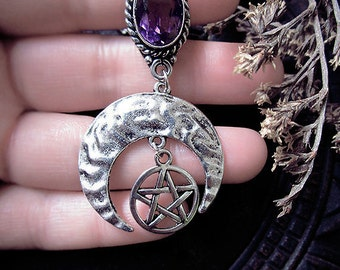 Moon and Pentagram, Amethyst Pendant, Witchy, Wicca, Moon Pendant